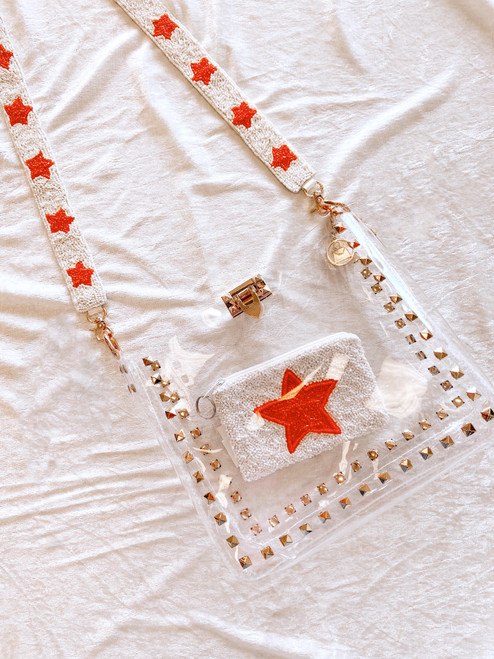 Hand-beaded purse strap white with orange stars