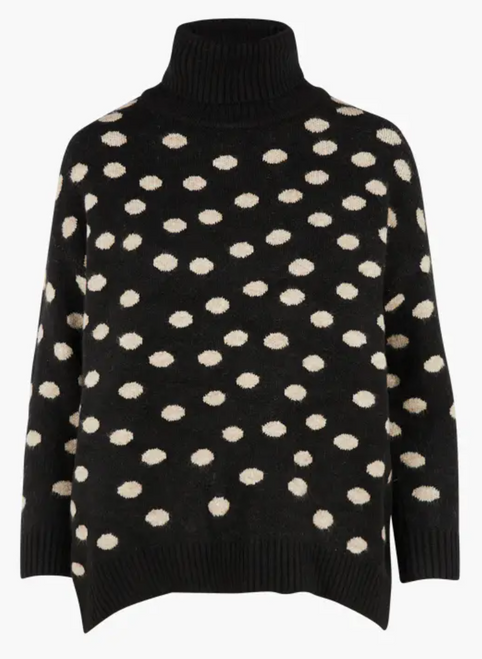 Women's black and beige polka dot turtleneck sweater
