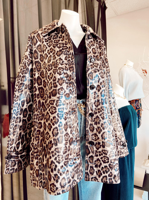 Glossy coating oversized leopard coat