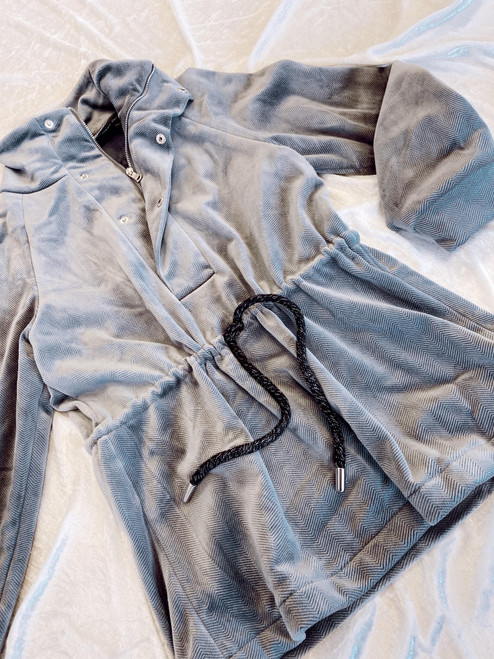 Grey velour track pullover jacket