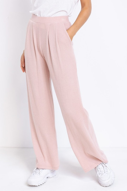 Blush pink rib knit loungewear matching set
