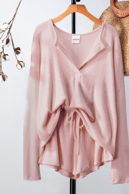 Women's blush pink rib knit matching loungewear set