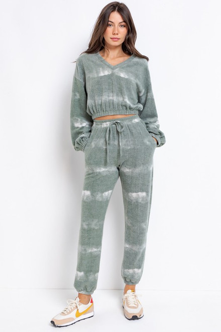 Olive green tie-dye jogger, lounge set
