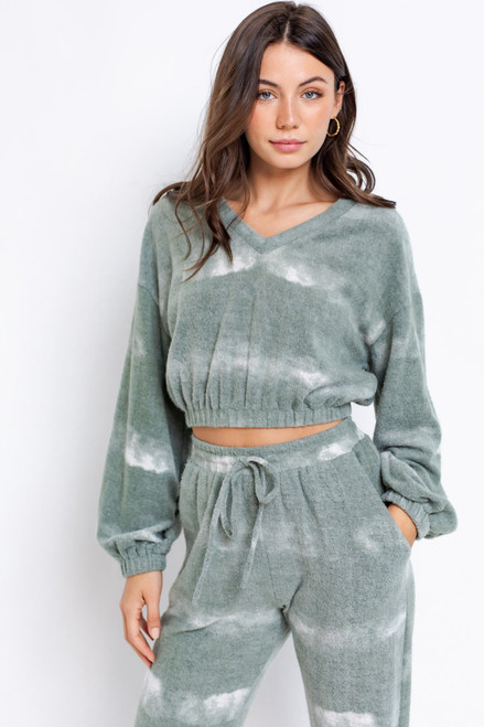 Olive green tie-dye cropped v-neck sweatshirt, lounge set