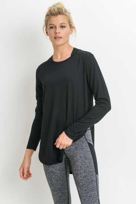 Black longline long sleeve top with slit sides