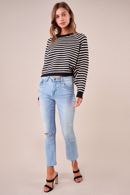 Black and ivory striped cropped sweater