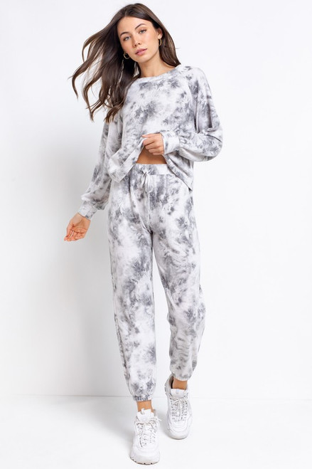 Women's gray tie-dye lounge set