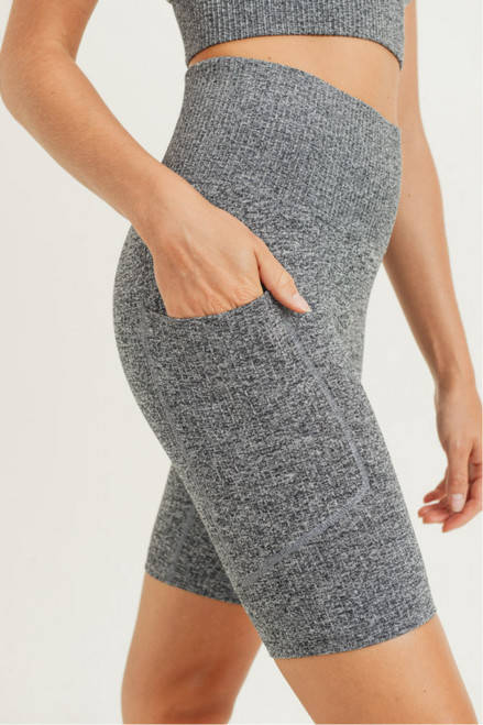 Grey seamless bike shorts