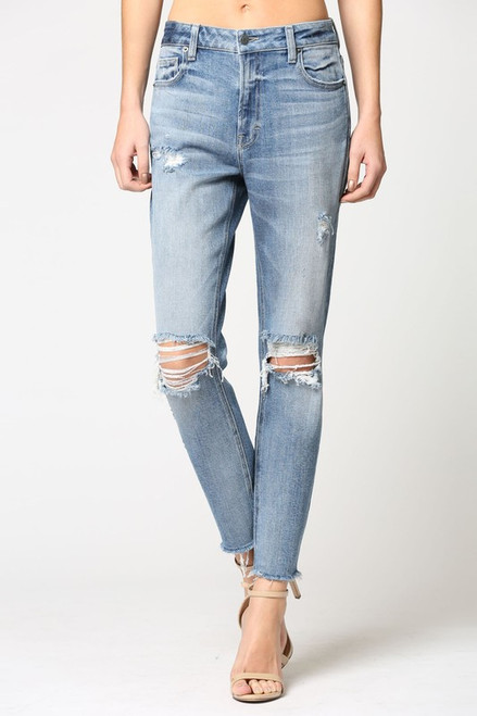 Women's distressed high rise mom jean