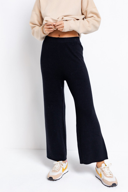 Black wide leg crop sweater pants with matching sweater