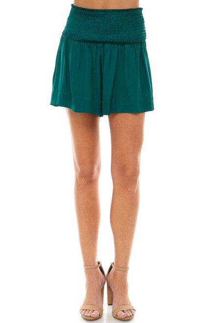 Hunter green smocked waist shorts