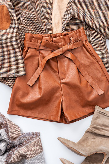 Brown faux leather paper bag waist shorts