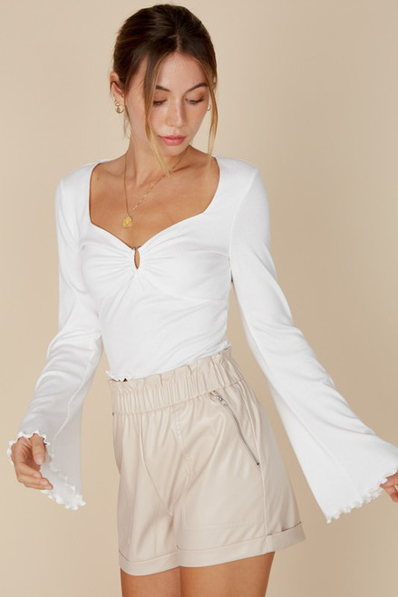 White bell sleeve ribbed cropped tee with lettuce hem