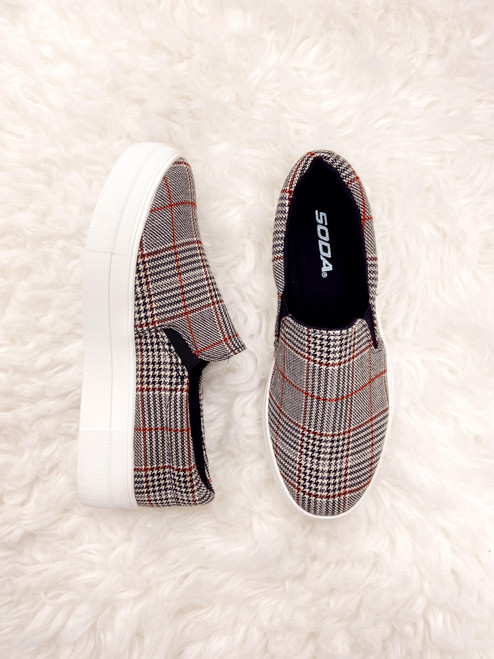 Red and black plaid platform sneaker