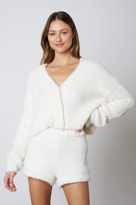 Women's fuzzy ivory lounge set, matching short and sweater lounge set