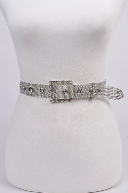 Rhinestone and mesh metal belt