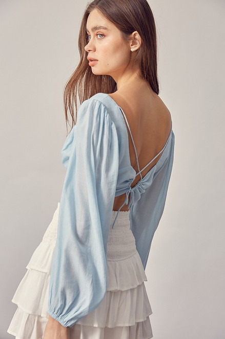 Sweetheart Open Back Top - Baby Blue
