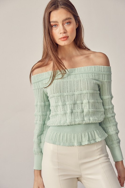 Mint green off the shoulder sweater
