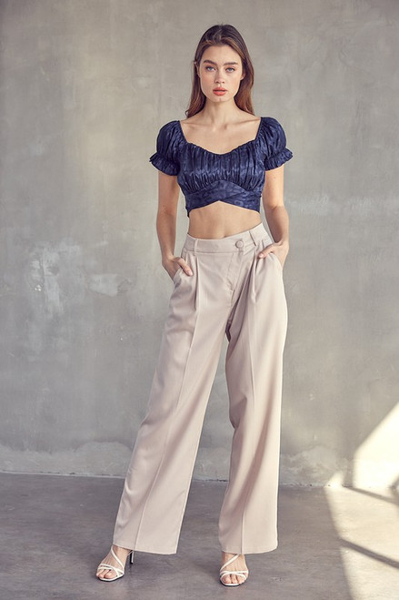 Taupe wide leg trouser with asymmetrical button