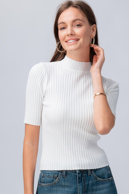 Ivory rib knit half sleeve mock neck top