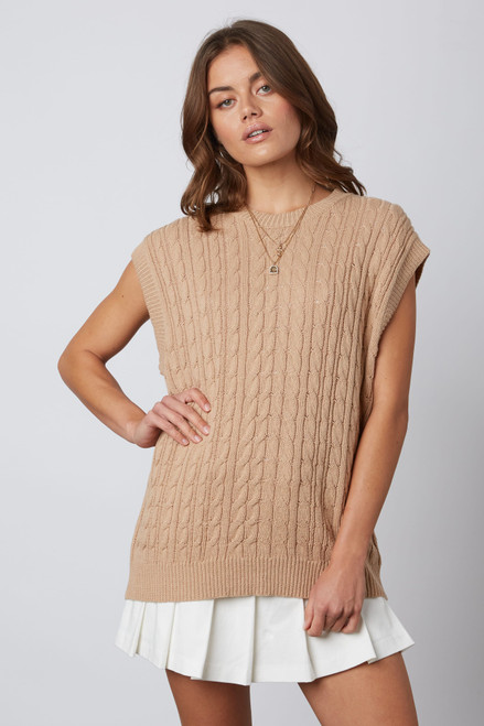 Tan sleeveless cable knit sweater