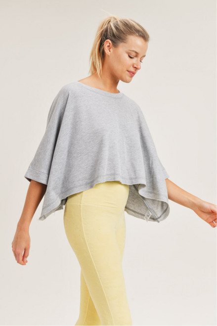 Heather grey loose fit boxy cropped tee