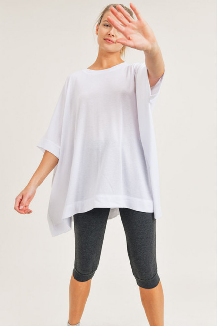 White loose fit cape tee
