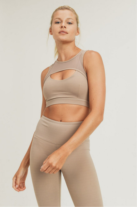 Tan sports bra with mesh details