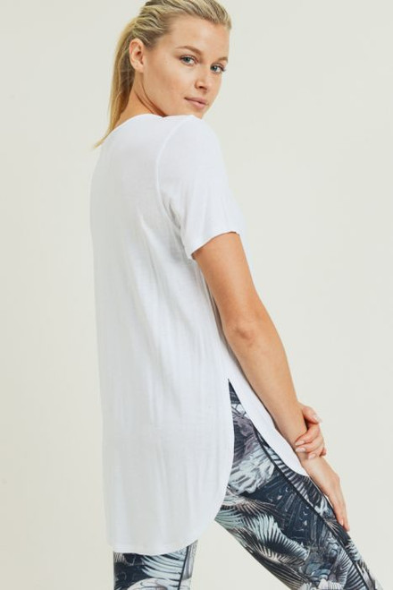 Tan and grey heather tee with side slit