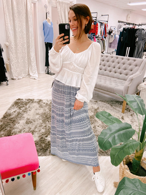 Navy and white printed tiered maxi skirt