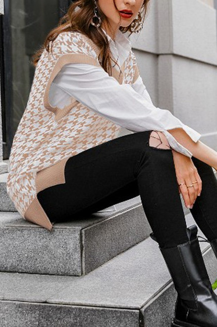 Taupe and white houndstooth oversized sweater vest