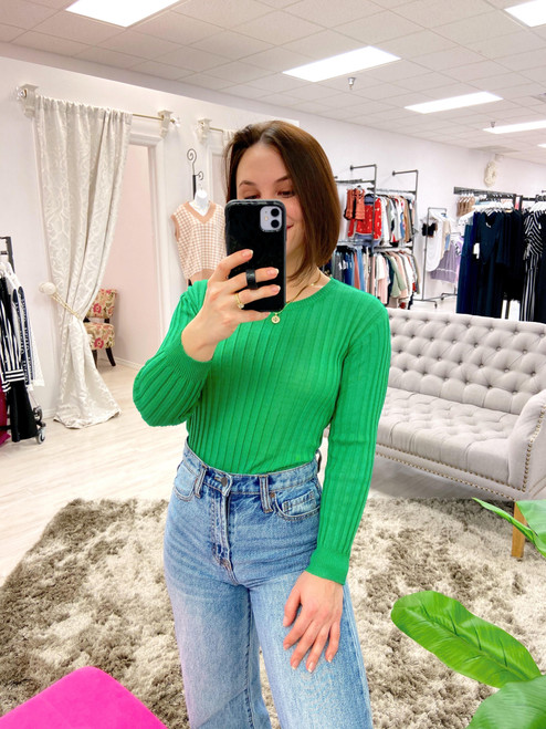 Kelly green lightweight rib knit sweater top