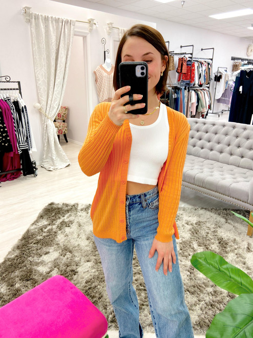 Light orange rib knit cardigan