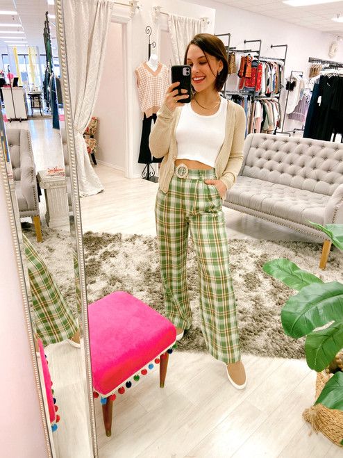 Green and brown plaid wide leg pant