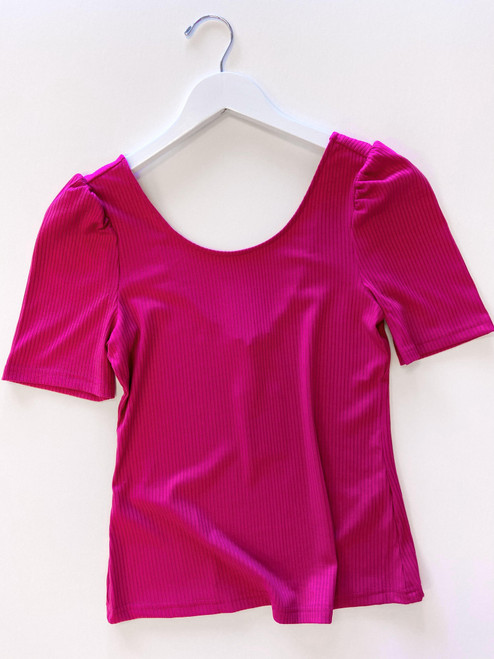 Fuchsia rib knit scoop neck top with puff sleeve