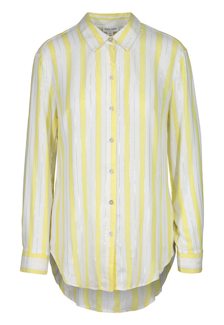 Yellow stripe boyfriend shirt