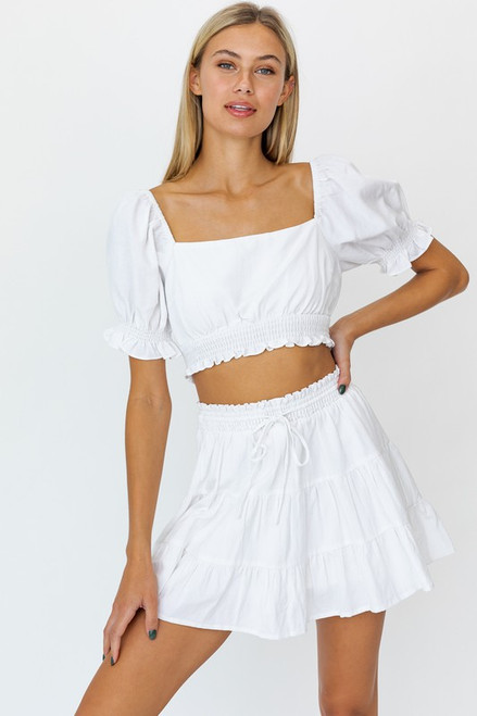 White linen puff sleeve open back top