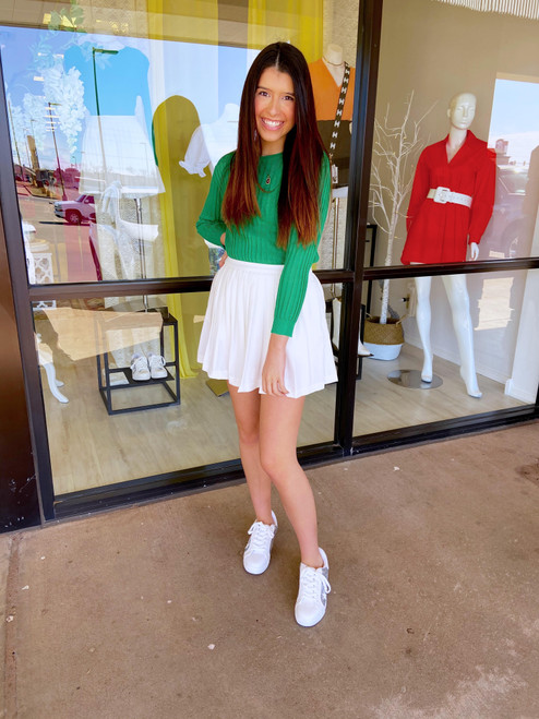 White pleated tennis skirt with short lining