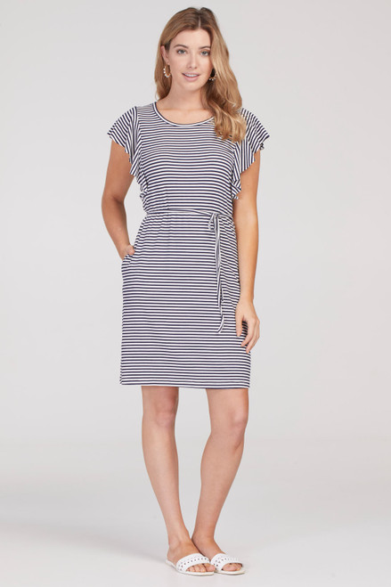 Navy white and silver stripe flutter sleeve t-shirt dress