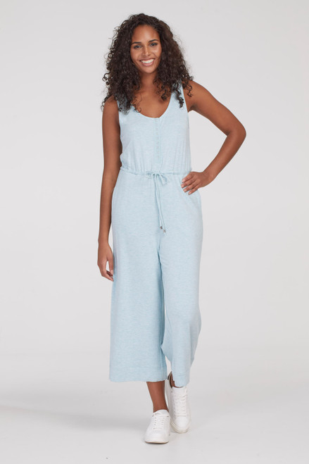 Grey lounge tank jumpsuit with drawstring