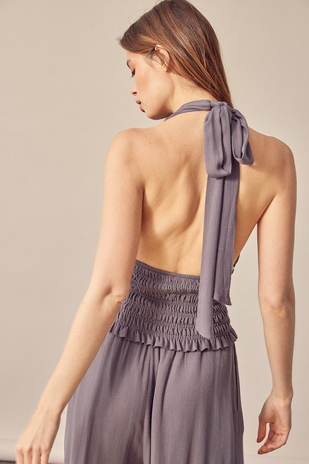 Charcoal grey halter top with open back and smocked waistband
