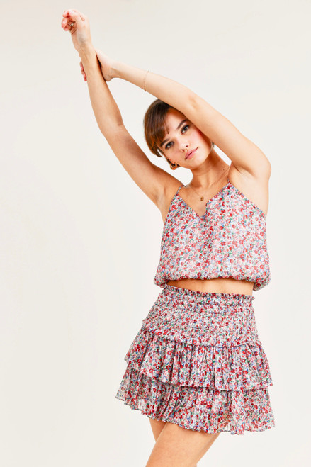 Floral print skirt with smocked waist and ruffle hem
