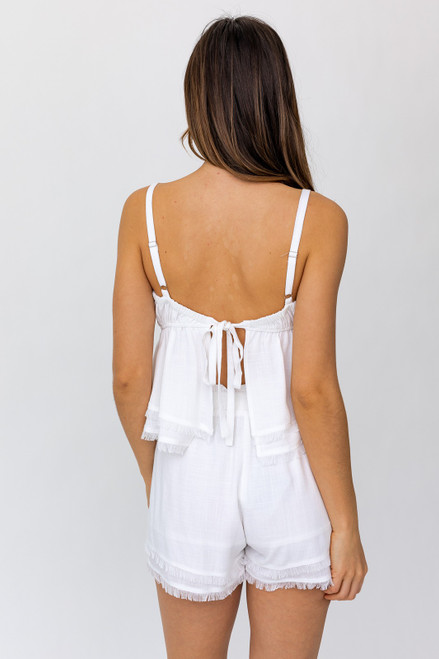 Matching white set, white top with open back