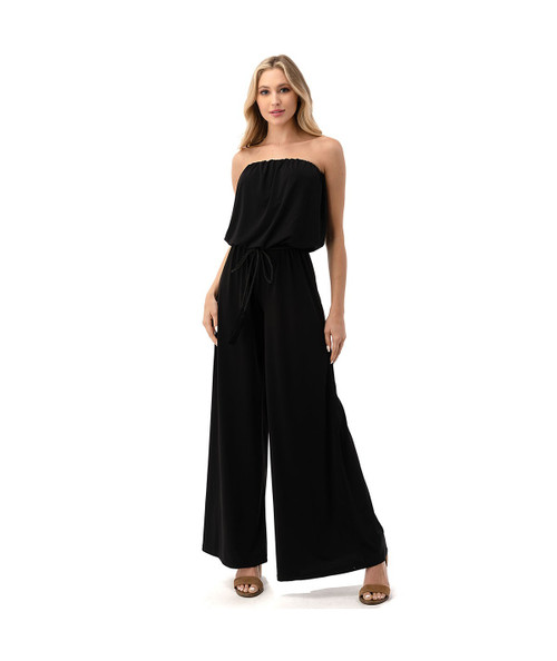 Black strapless jumpsuit with wide leg