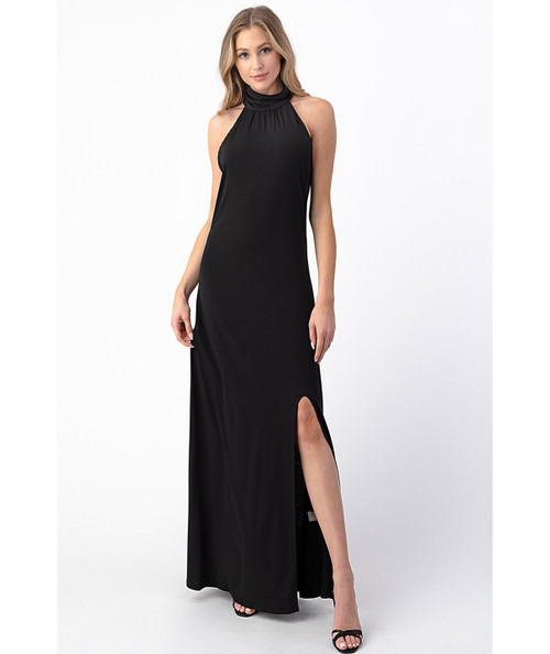 Bold Move Halter Dress - Black