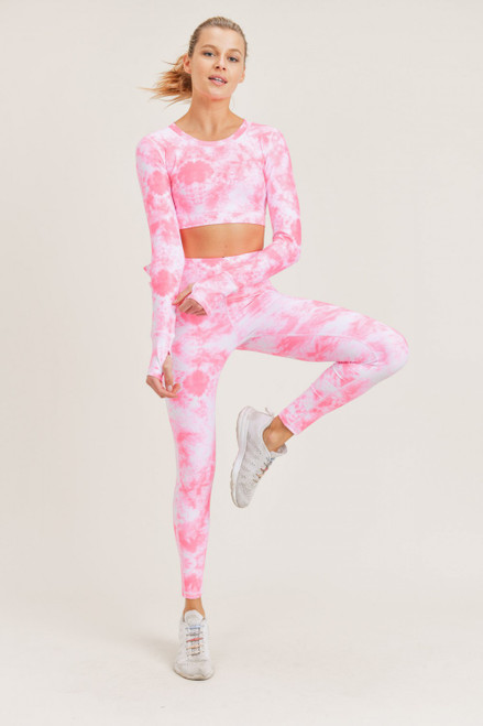 Hot pink tie dye legging with matching top