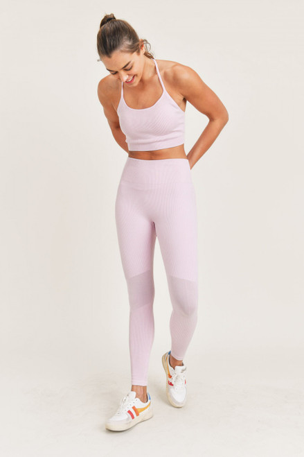 Pastel pink ribbed legging