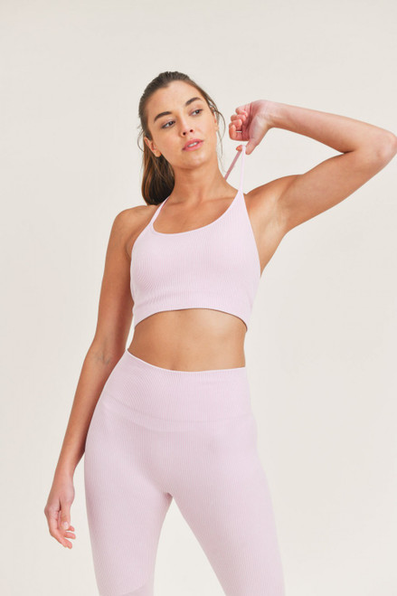 Pastel pink ribbed cami with thin racerback