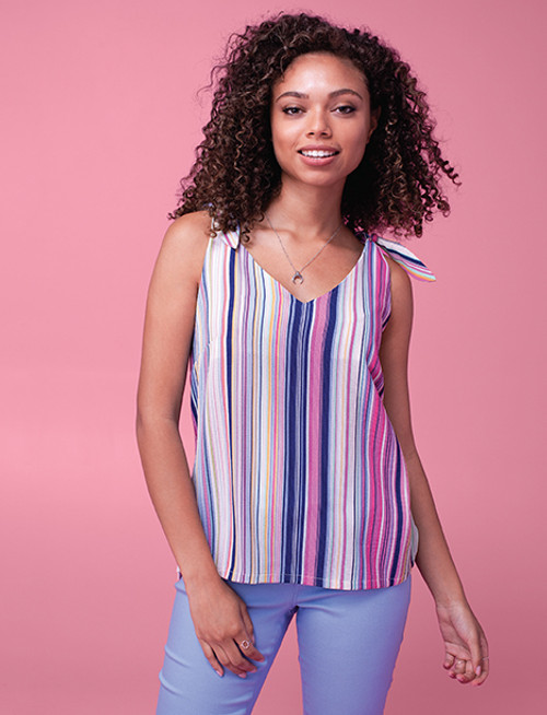 Colorful striped tank with tie detail on shoulders