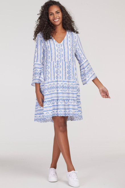 Blue and white printed babydoll dress with sleeves for women